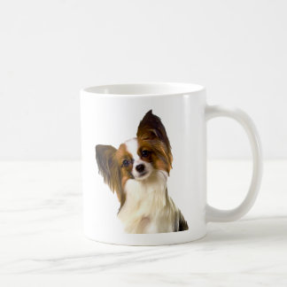 Papillon puppy Isolated on editable Background Pil Coffee Mug