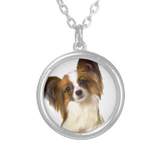 Papillon puppy Isolated on editable Background Pil Round Pendant Necklace