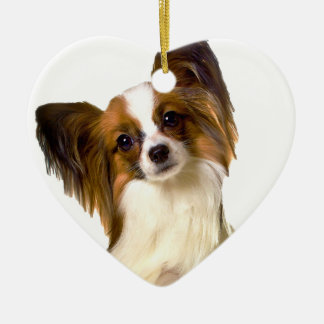 Papillon puppy Isolated on editable Background Pil Double-Sided Heart Ceramic Christmas Ornament