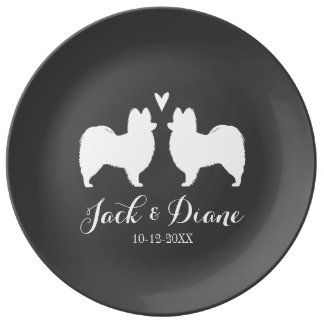 Papillon Silhouettes with Heart and Text Dinner Plate