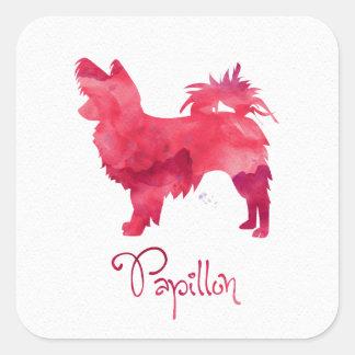 Papillon Watercolor Design Square Sticker