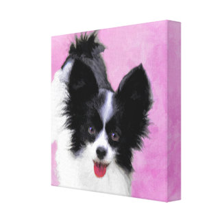 Papillon (White and Black) Canvas Print