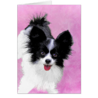 Papillon (White and Black) Painting - Dog Art Card