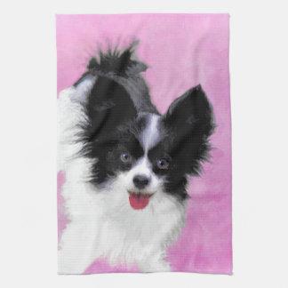 Papillon (White and Black) Painting - Dog Art Kitchen Towel