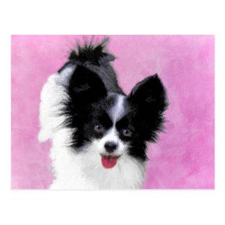 Papillon (White and Black) Painting - Dog Art Postcard
