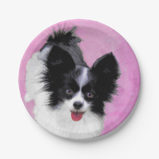 Papillon (White and Black) Paper Plate