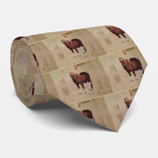 Papiro antiguo chino con la pintura del caballo corbatas