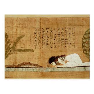 Papiro funerario que representa tarjetas postales