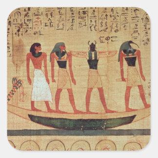 Papiro que representa a un hombre pegatina cuadrada