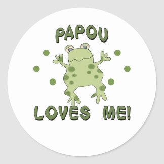 Papou Loves Me Frog Classic Round Sticker