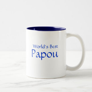 Papou, mundo mejor taza de café de dos colores