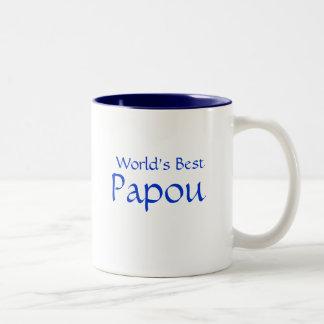Papou, mundo mejor taza de dos tonos