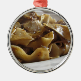 Pappardelle with boar ragu metal ornament
