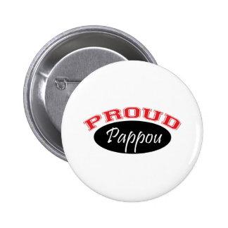 Pappou orgulloso (negro y rojo) pin redondo de 2 pulgadas