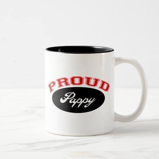 Pappy orgulloso (rojo y negro) taza de café de dos colores
