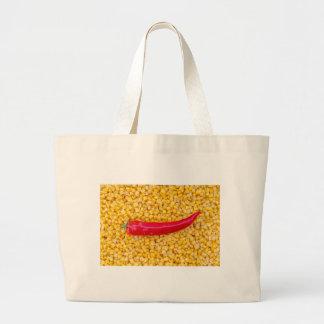 Paprika on corn large tote bag