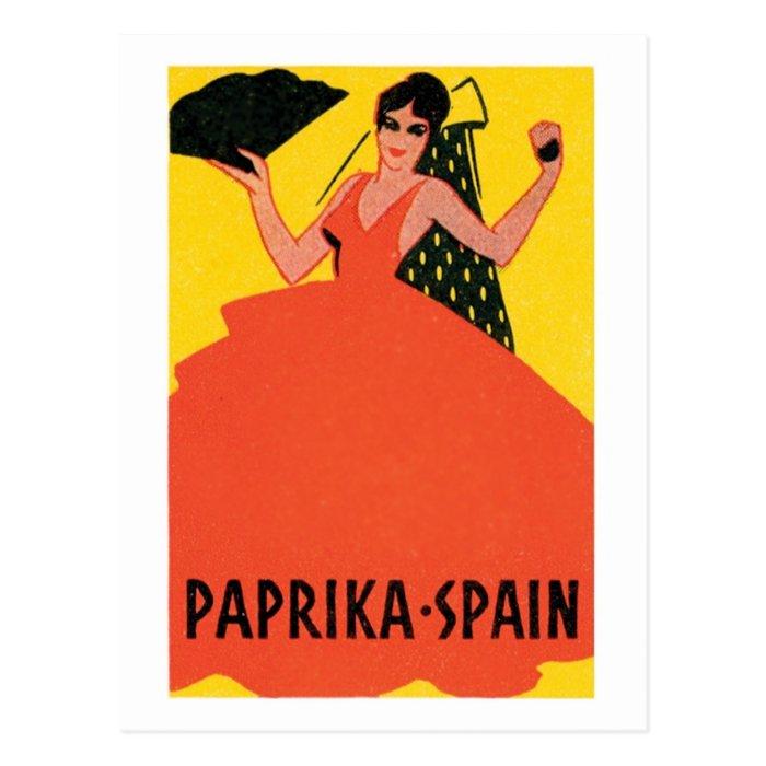 Paprika Spain VIntage Label Postcard