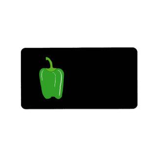 Paprika Verde. Entero Etiquetas De Dirección