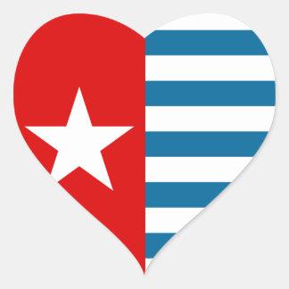 Papua del oeste pegatina en forma de corazón