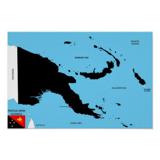 papua new guinea country political map flag poster