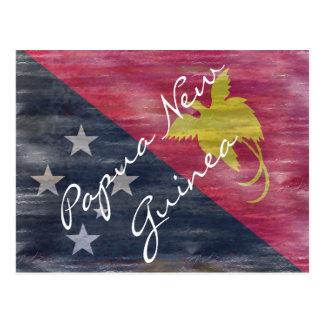 Papua New Guinea distressed flag Postcard