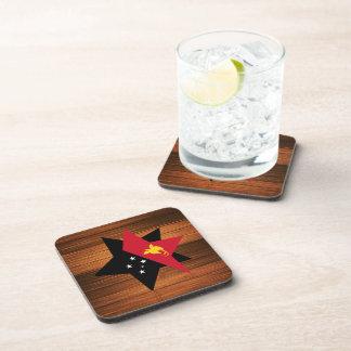 Papua New Guinea Flag Star on Wood Drink Coasters