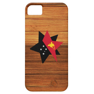 Papua New Guinea Flag Star on Wood iPhone 5 Case