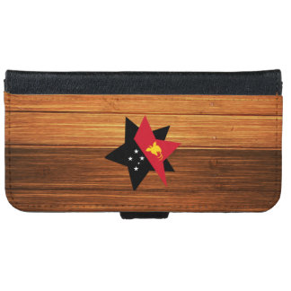 Papua New Guinea Flag Star on Wood iPhone 6 Wallet Case