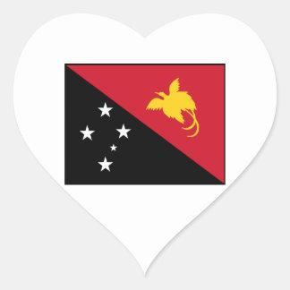 Papua New Guinea Flag Heart Stickers