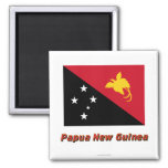 Papua New Guinea Flag with Name 2 Inch Square Magnet