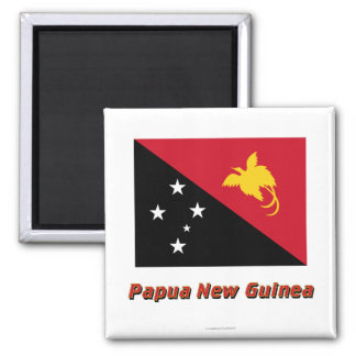 Papua New Guinea Flag with Name Magnet