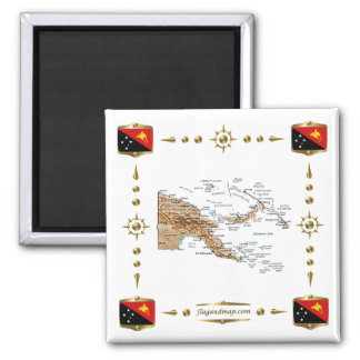 Papua New Guinea Map + Flags Magnet