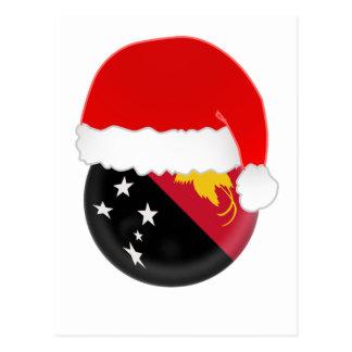 Papua-New Guinea Santa, flag and hat Postcard