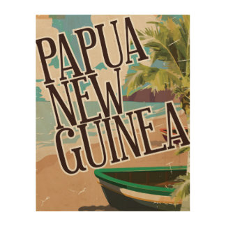 Papua New Guinea vintage travel poster art. Wood Print