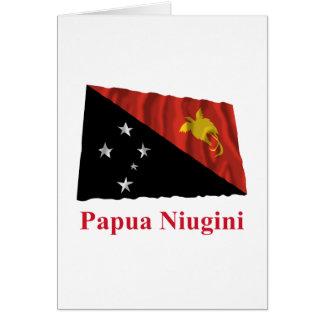 Papua New Guinea Waving Flag w Name in Tok Pisin Card
