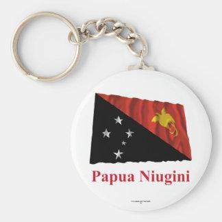 Papua New Guinea Waving Flag w Name in Tok Pisin Keychain