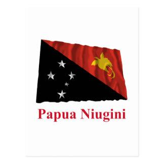 Papua New Guinea Waving Flag w Name in Tok Pisin Postcard