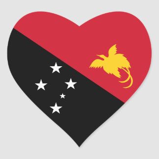 Papúa Nueva Guinea/bandera guineana del corazón Pegatina En Forma De Corazón