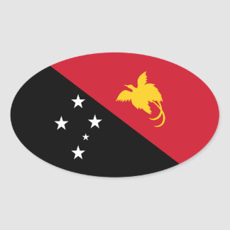 Papúa Nueva Guinea/bandera guineana Pegatina Ovalada