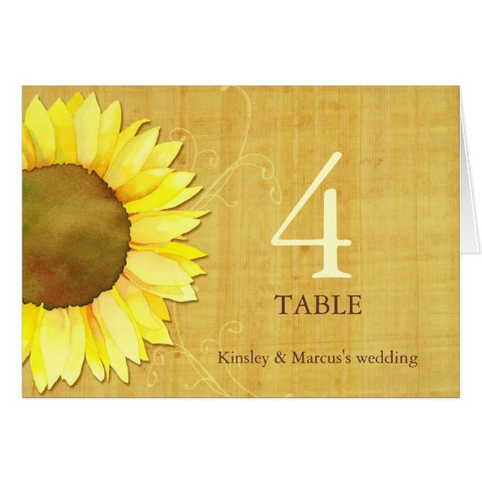 Papyrus Sunflower Wedding Folded Table Number Card