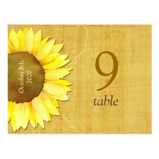 Papyrus Sunflower Wedding Table Number Postcards