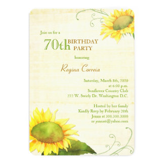 Papyrus Sunflowers 70th Birthday Party Invitations