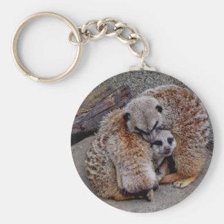Paquete adorable de Meerkats de foto de la Llavero Redondo Tipo Pin