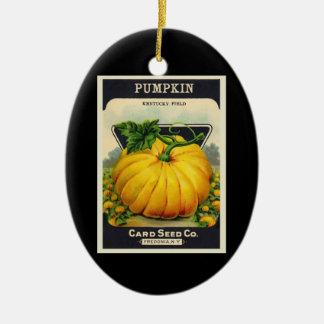 Paquete de la semilla de la calabaza de la tarjeta adorno navideño ovalado de cerámica
