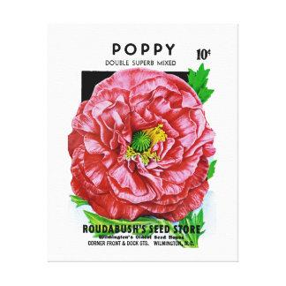 Paquete de la semilla del vintage de la amapola impresiones de lienzo