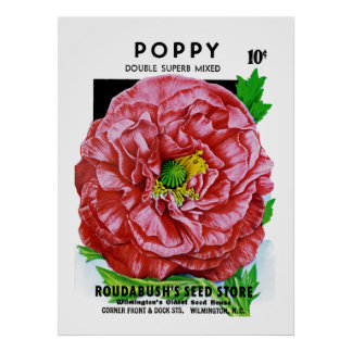 Paquete de la semilla del vintage de la amapola póster