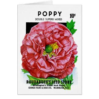 Paquete de la semilla del vintage de la amapola tarjeta de felicitación