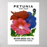 Paquete de la semilla del vintage de la petunia poster