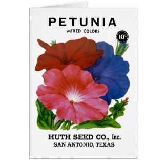 Paquete de la semilla del vintage de la petunia tarjeta de felicitación