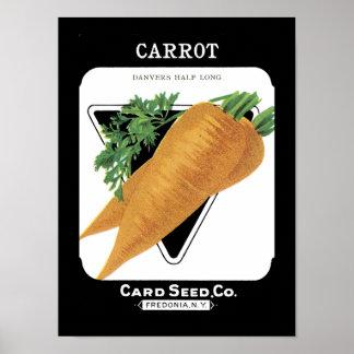 Paquete de la semilla del vintage de la zanahoria póster